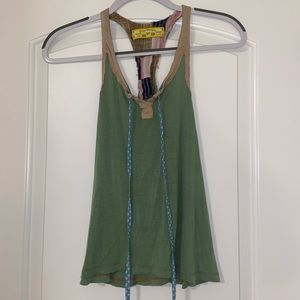 Vintage Free People Green Tank with Ties XS